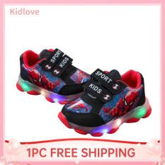 Giày Thể Thao Kidlove Cho Trẻ Em Bé Gái 1-5 Tuổi, Giày Thường Ngày In Hình Người Nhện Hoạt Hình Có Đèn Phát Sáng