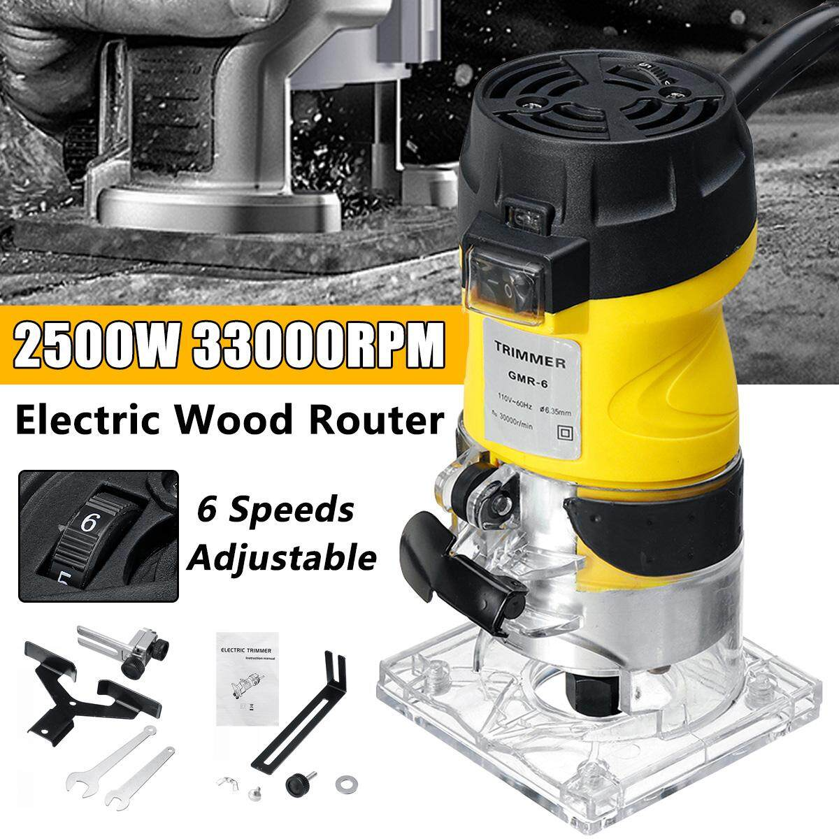 2200W 8000-33000RPM 6 Speeds Adjustable Electric Woodworking 1/4 Trim Hand Joiners Trimmer
