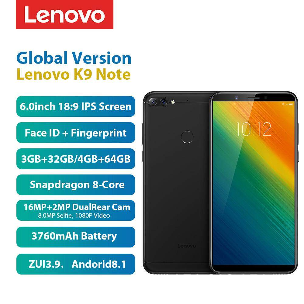Global Version Lenovo K9 Note 4GB 64GB 6-inch Face ID Mobile Phone Android  8 1 Rear 16MP AI Front 8MP Snapdragon 450 Octa Core