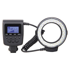 Macro LED Round Flash Bundle with 8 Adapter Rings Compatible with Canon Nikon Pentax Olympus Panasonic DSLR Camera
