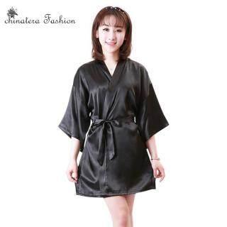 Áo Choàng Tắm Kimono Nữ, Áo Choàng Lụa Satin Gợi Cảm, Đồ Lót Màu Sắc Tinh Khiết Đồ Ngủ Quần Áo Ngủ L-XXL thumbnail
