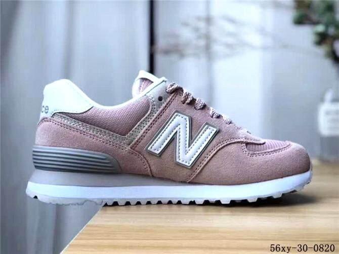 NEW BALANCE 574 Resmi Sneakers Wanita Putih Ungu Penjualan Global 2a894bd216