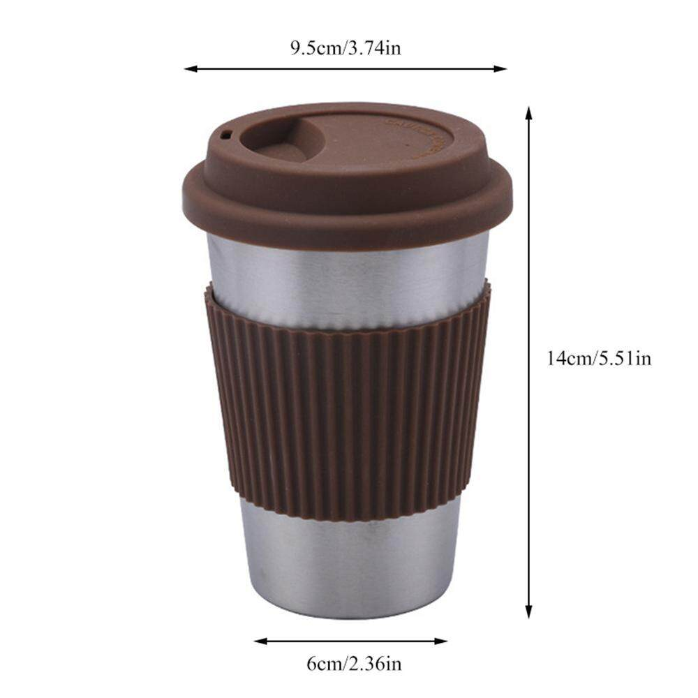 7d849103ec4 niceEshop Stainless Steel Coffee Cups with Silicone Lids, Unbreakable Metal  Tumblers, for Pubs,