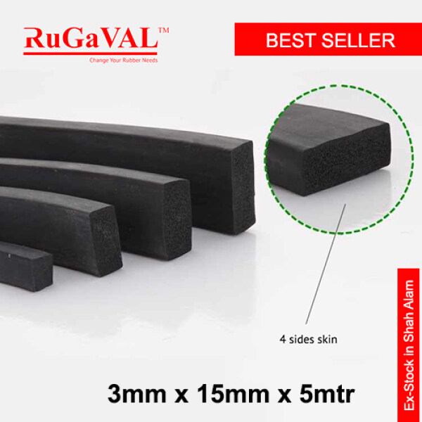 EPDM Sponge Rubber  I Size:3mm(Thk)x15mm(W)x5mtr(L) I Rubber Sponge I Rubber Foam I WITHOUT ADHENSIVE I READY STOCK IN SELANGOR MALAYSIA