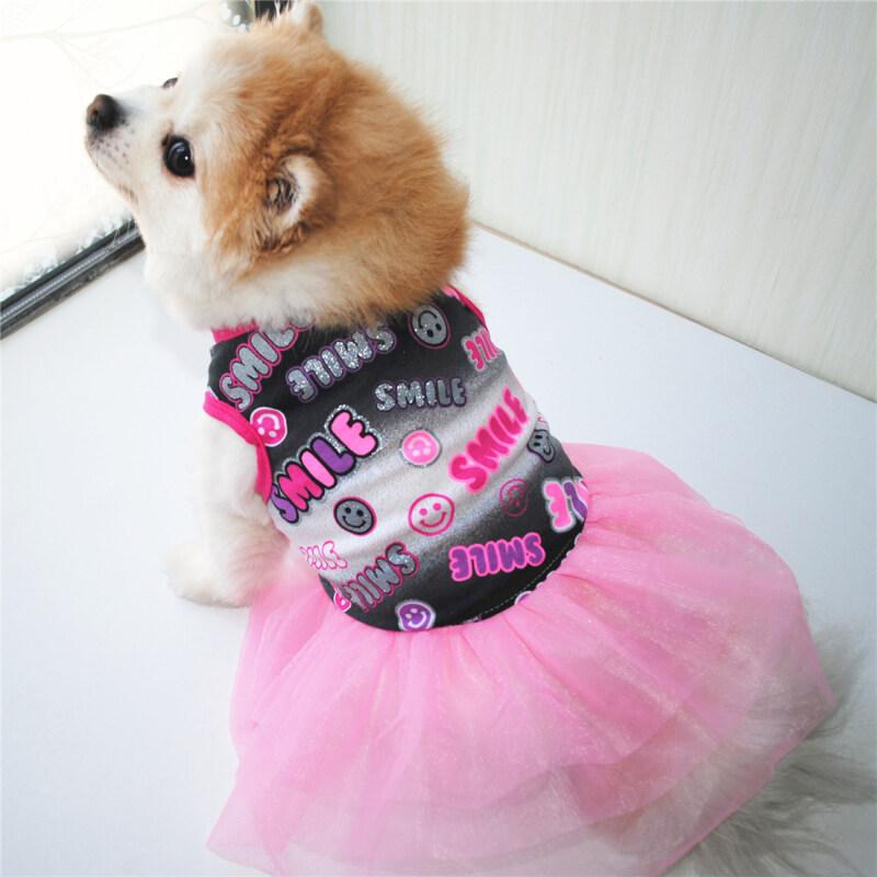 Quần áo cho chó cotton thoáng khí mùa hè DY Loving Váy mỏng In hình mặt cười