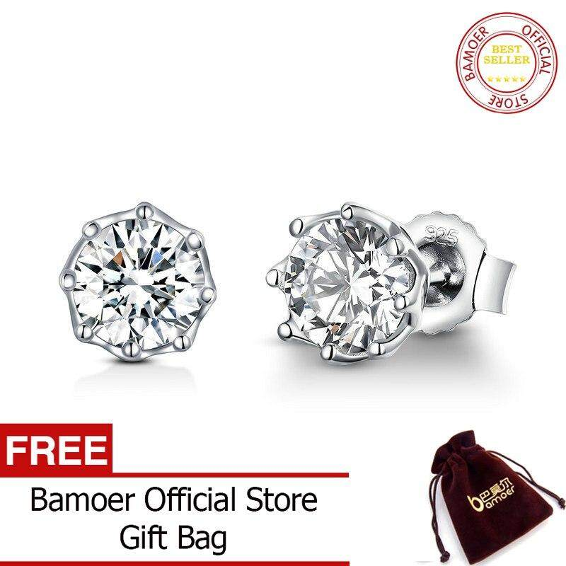 ab240eb0ee BAMOER Authentic 925 Sterling Silver Classic Clear Cubic Zircon Small Stud  Earrings for Women Sterling Silver