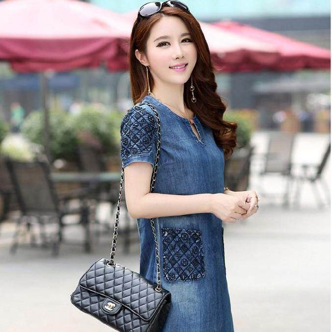 d82e1544cd77f Mini Denim Dress Loose Large Size Casual Jeans Dress Female Slim Dress  Denim Clothing Denim Washed Denim Fashion Slim Casual Top Jumpsuit
