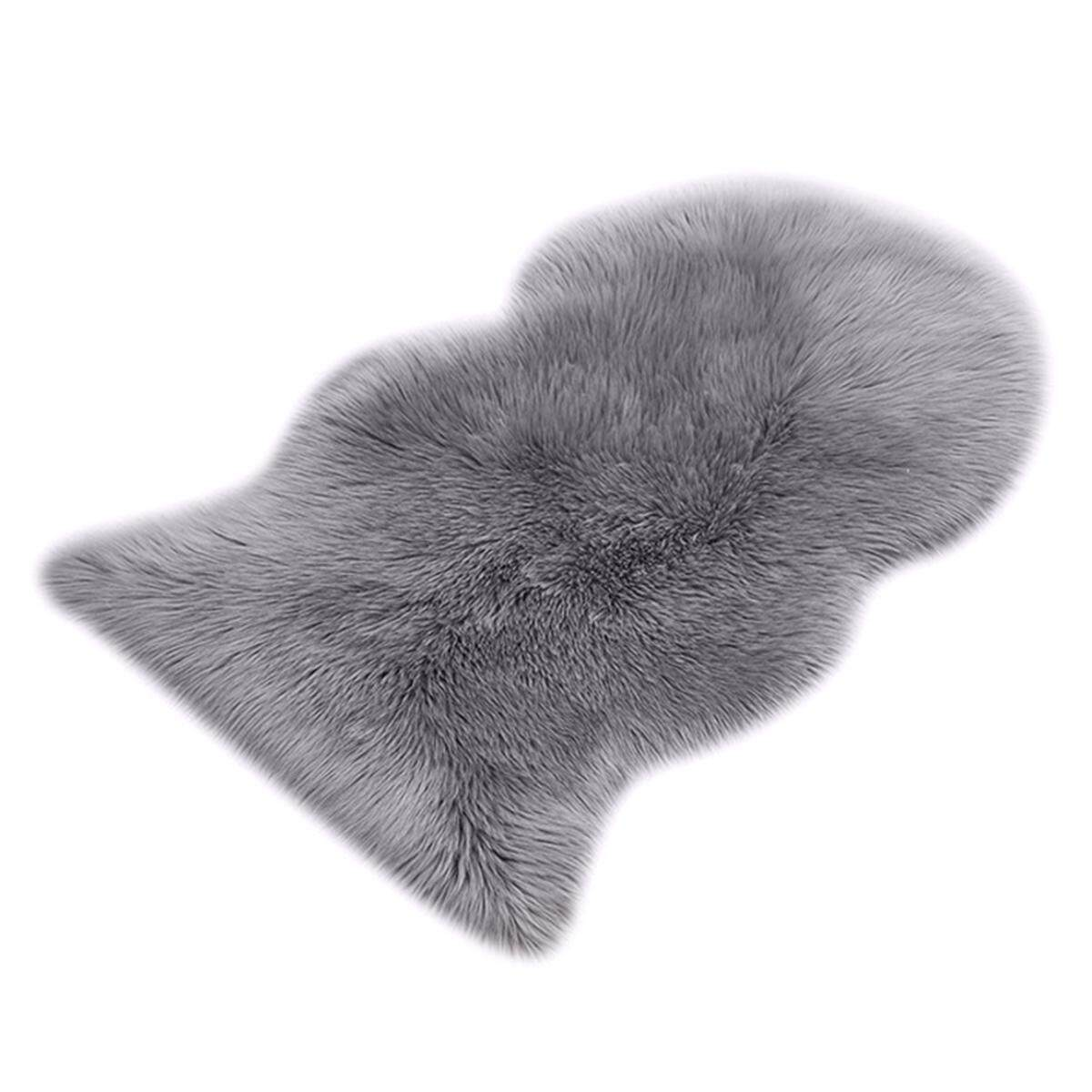 Faux Fur Sheepskin Rug 60 x 90 cm Faux Fleece Fluffy Area Rugs Anti-Skid Carpet for Living Room Bedroom Sofa Nursery Rugs (Grey)