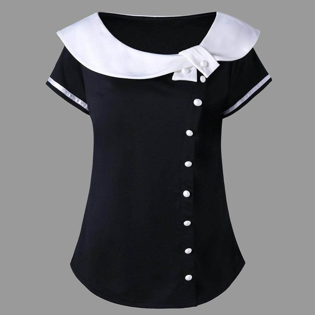 cba659348 Fashion Women Short Sleeve Plus Size Two Tone Peter Pan Collar T-shirt Tops  Casual