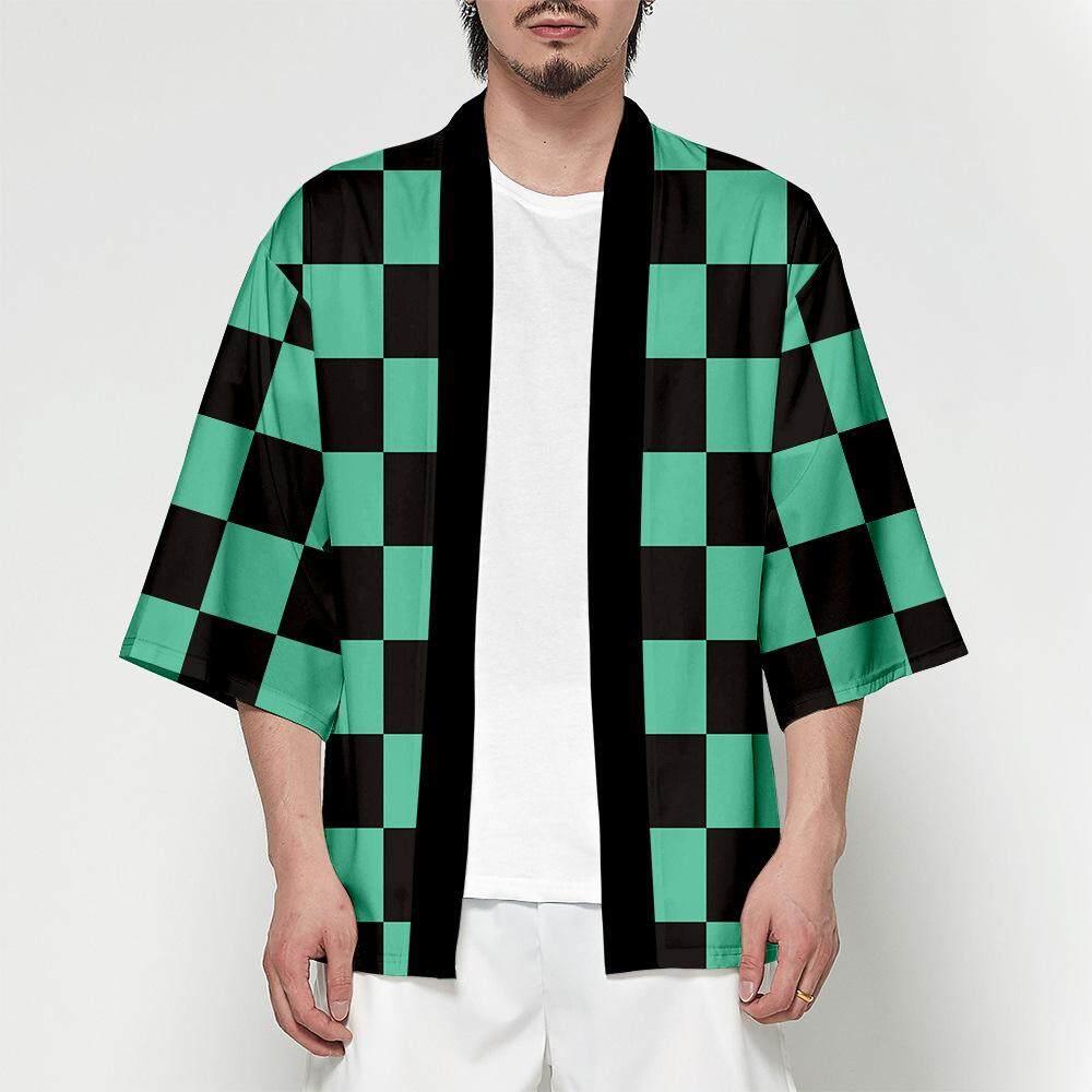 kimetsu no yaiba cosplay costKamado Tanjirouume Anime Demon Slayer Costume  daily T-shirt Short sleeve coat Simple kimono
