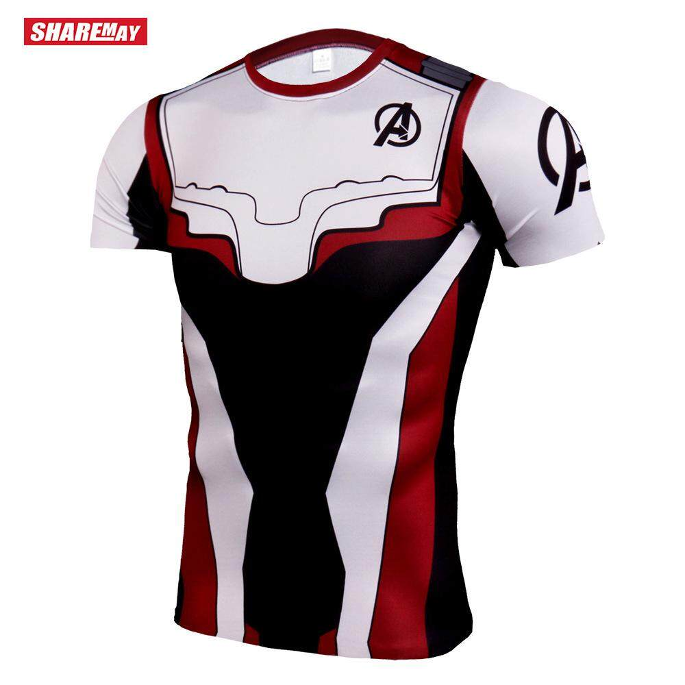 66c6863d Men Fitness Short Sleeve T-shirt Super Hero Iron Man Printed Compression T- Shirt