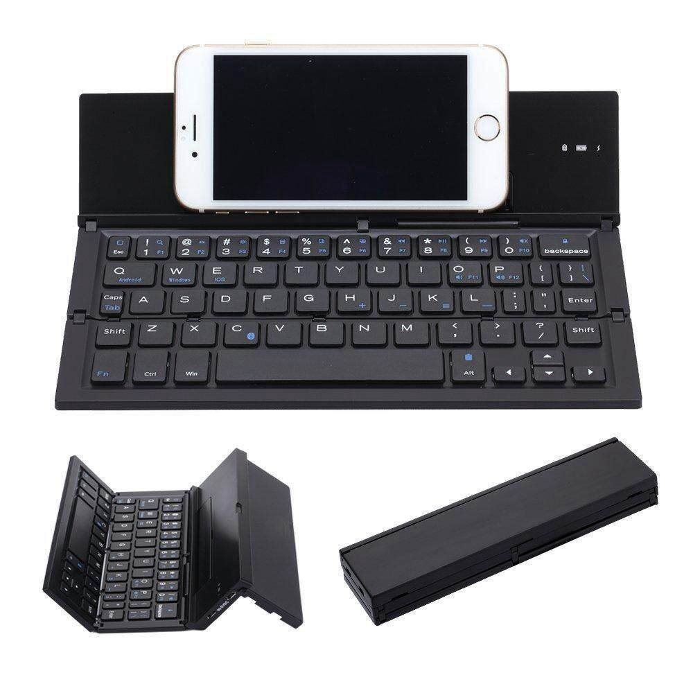 Folding Keyboard,Portable Ultra-thin Wireless BT Keyboard Aluminum Alloy with Kickstand Universal for iPhone/ Windows / iOS / Mac / Android Tablet /Smartphone (Black) Malaysia