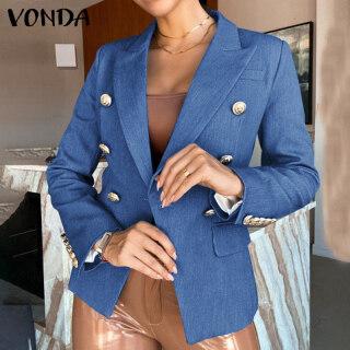 (Phong Cách Phương Tây) VONDA Bộ Đồ Nữ Dài Tay Cài Cúc Màu Trơn Thời Trang Phong Cách OL Áo Blazer thumbnail