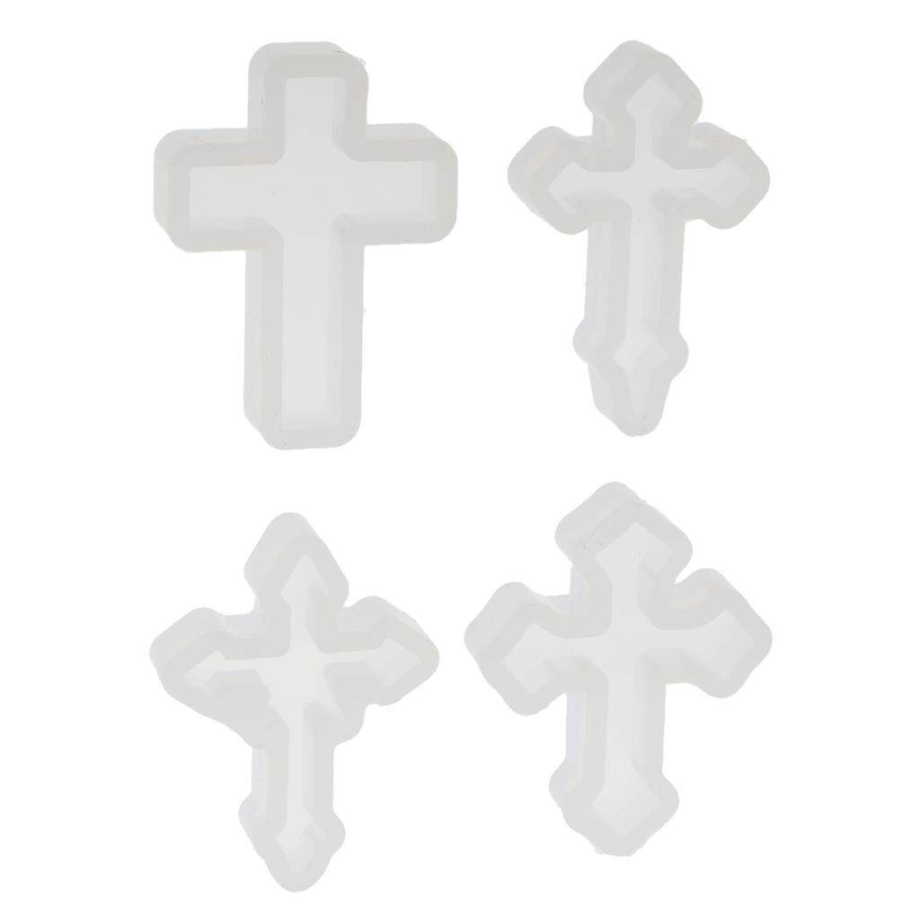 Prettyia 4pcs Clear Silicone Mould Cross Diy Mold Decorating Pendant Jewelry Making By Prettyia.