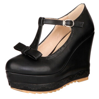 Womens T-Strap Wedge Heeled Pumps Platform Mary Janes with Bows thumbnail