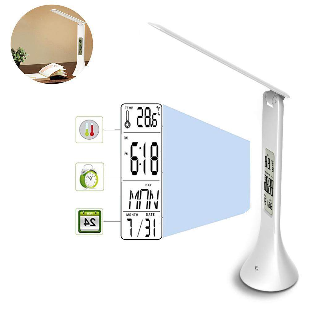 NiceToEmpty LED Desk Lamp,Folding Touch-Sensitive Control Table Light with Clock Alarm LCD Display Calendar USB Rechargeable Reading Light with Eye Protection