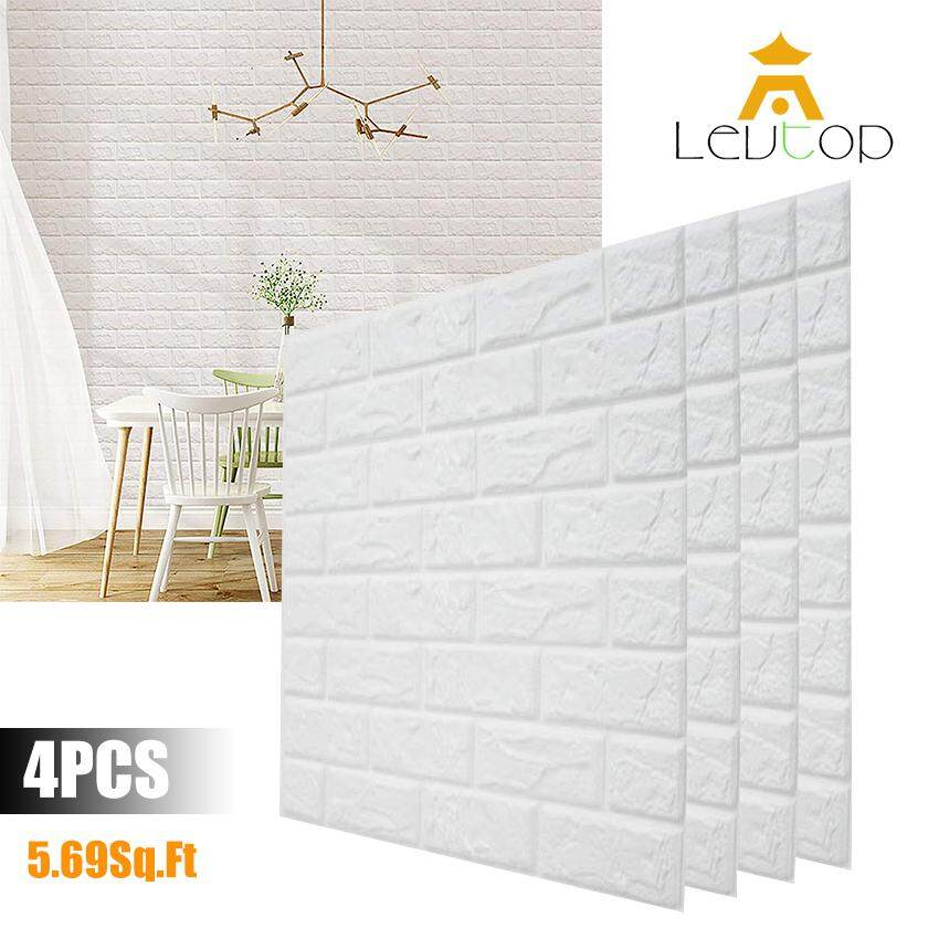LEVTOP 4 PCS/Set 3D Wall Stickers 70X77 CM PE Foam Home Decor Wallpaper Safety DIY Wall Decor Brick Living Room Kids Bedroom Decorative Sticker Self-Adhesive Wall Panels