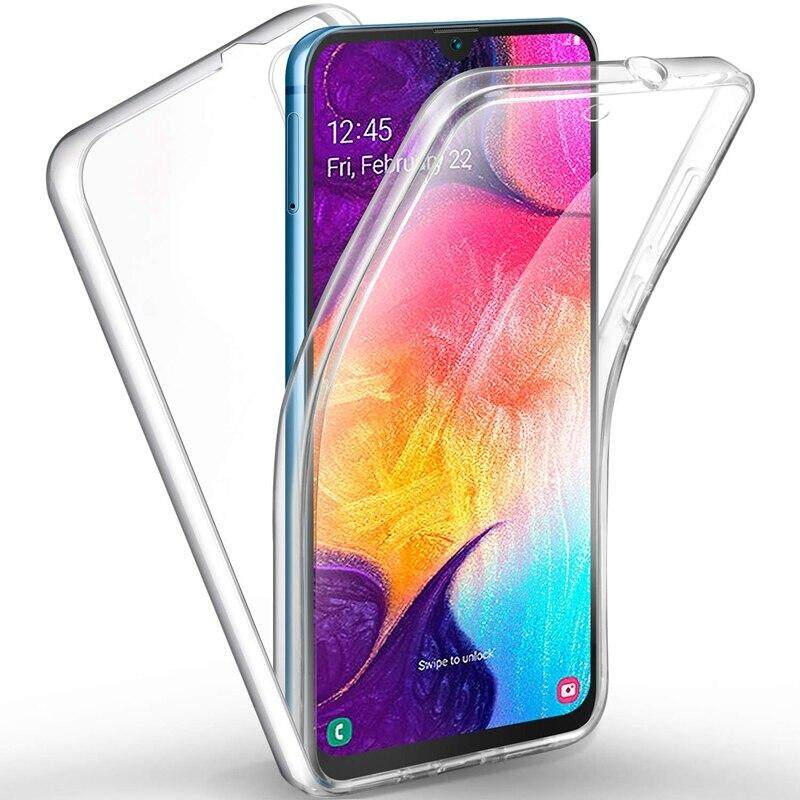 286e0b2279d For Samsung Galaxy A50 Phone Case, 360 Degree Full Cover Soft Clear Cover  Shockproof Transparent Silicone Casing