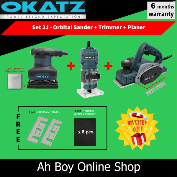 Combo OKATZ (3pcs) CS7V Circular Saw + PL182.60 Wood Planer + POS110V Orbital Sander + TN635.55 Router Trimmer + JS100–QL Jigsaw + POS125 Eccentric Sander