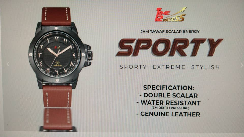 Anti-Clockwise Therapy Watch Sporty Extreme with Arabic Numbers Leather Strap Malaysia