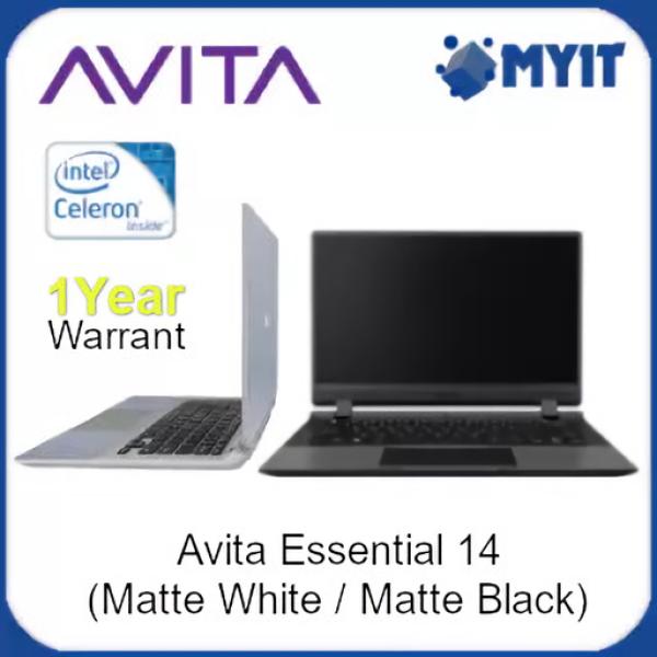 Avita Essential 14 Laptop Intel Celeron N4000 4GB RAM 128GB SSD 14 inch HD Display Windows 10 Home in S Mode Notebook W10S (Matte Black / Matte White) Malaysia