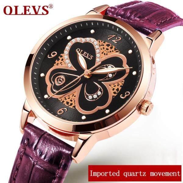 OLEVS hãng cao cấp thương hiệu đồng hồ nữ Thời Trang chống thấm nước hoa hồng vàng dây da dây đeo có thể thay thế lưới dây bán chạy