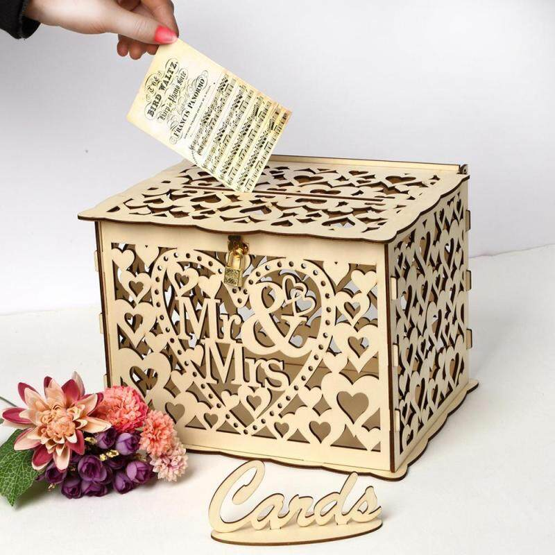 Au Wishing Well Card Box Decorative Wood Carved Wedding Engagement Party Rustic