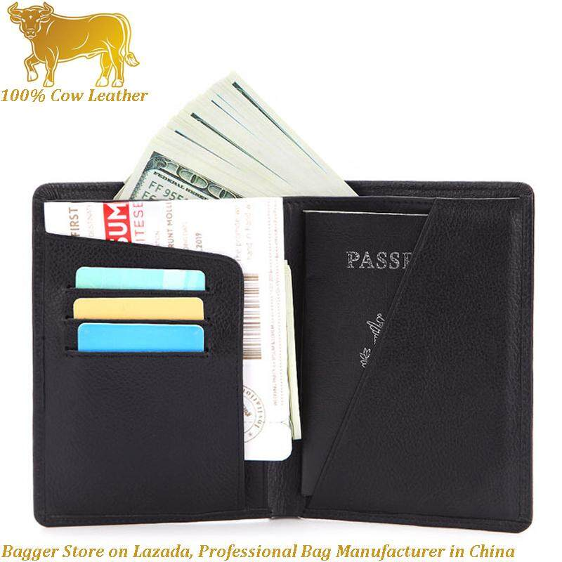 655e6e3b9 100% Genuine Cow Leather Cowhide Simple Retro Passport Bag Crazy Horse  Leather Short Wallet Solid