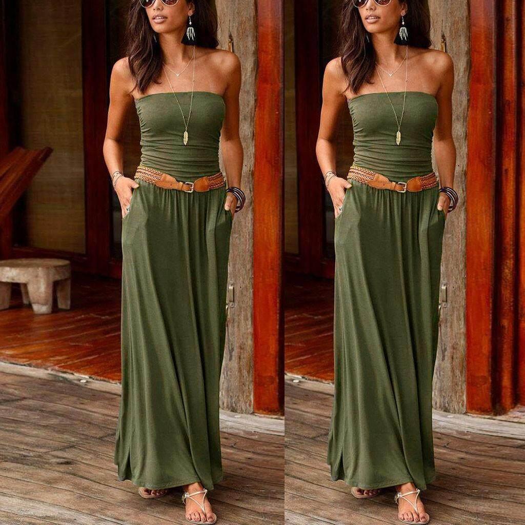f52c9ffc05be5 MMHWall Womens Bandeau Holiday Off Shoulder Long Dress Ladies Summer Solid  Maxi Dress