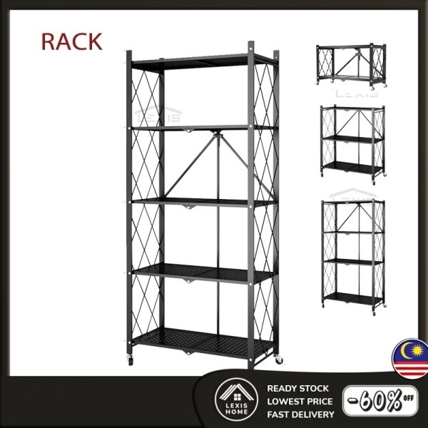 LEXIS 2 3 4 5 Tiers Simple Foldable Design Movable Trolley Kitchen Rack with Rollers (Multiple Sizes)