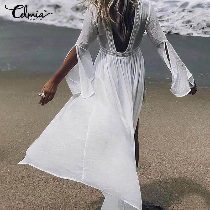 7869a0f295 Celmia Womens Bikini Cover Up Swimwear Beach Maxi Wrap Skirt Sarong Kimono  Kaftan Dress