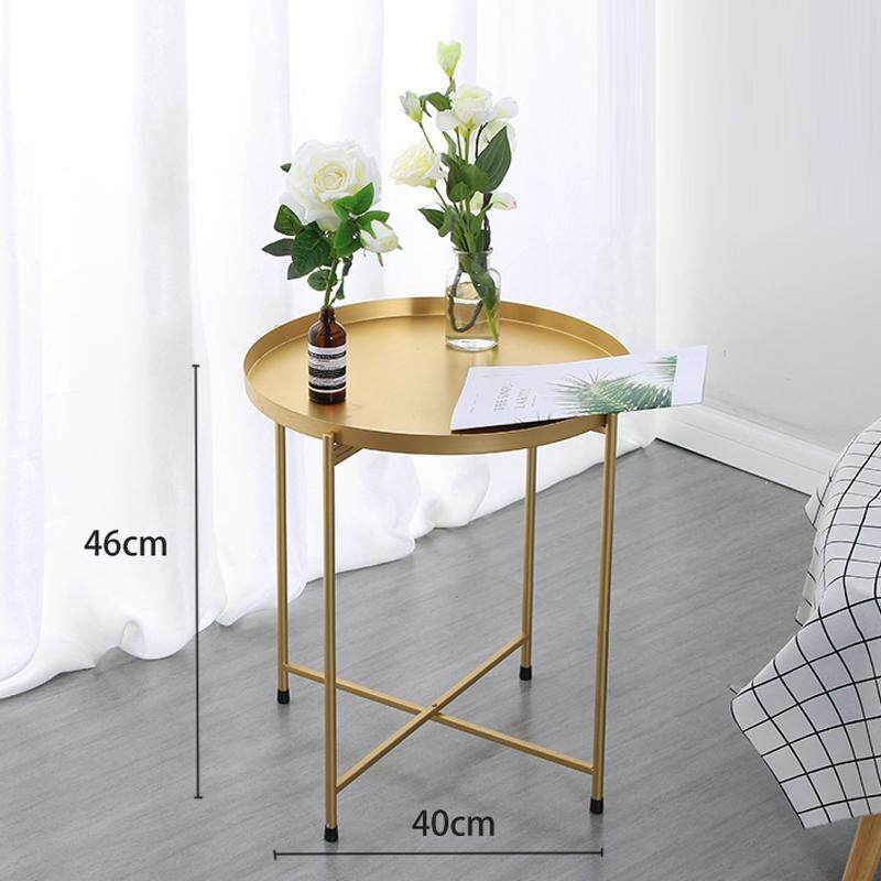 RuYiYu - 40x46cm, 2 Layer Round Coffee Table, Multi-color Optional, Metal Frame, Small Night Stand Table, Telephone Sofa Snack Table for Living Room Home and Bedroom