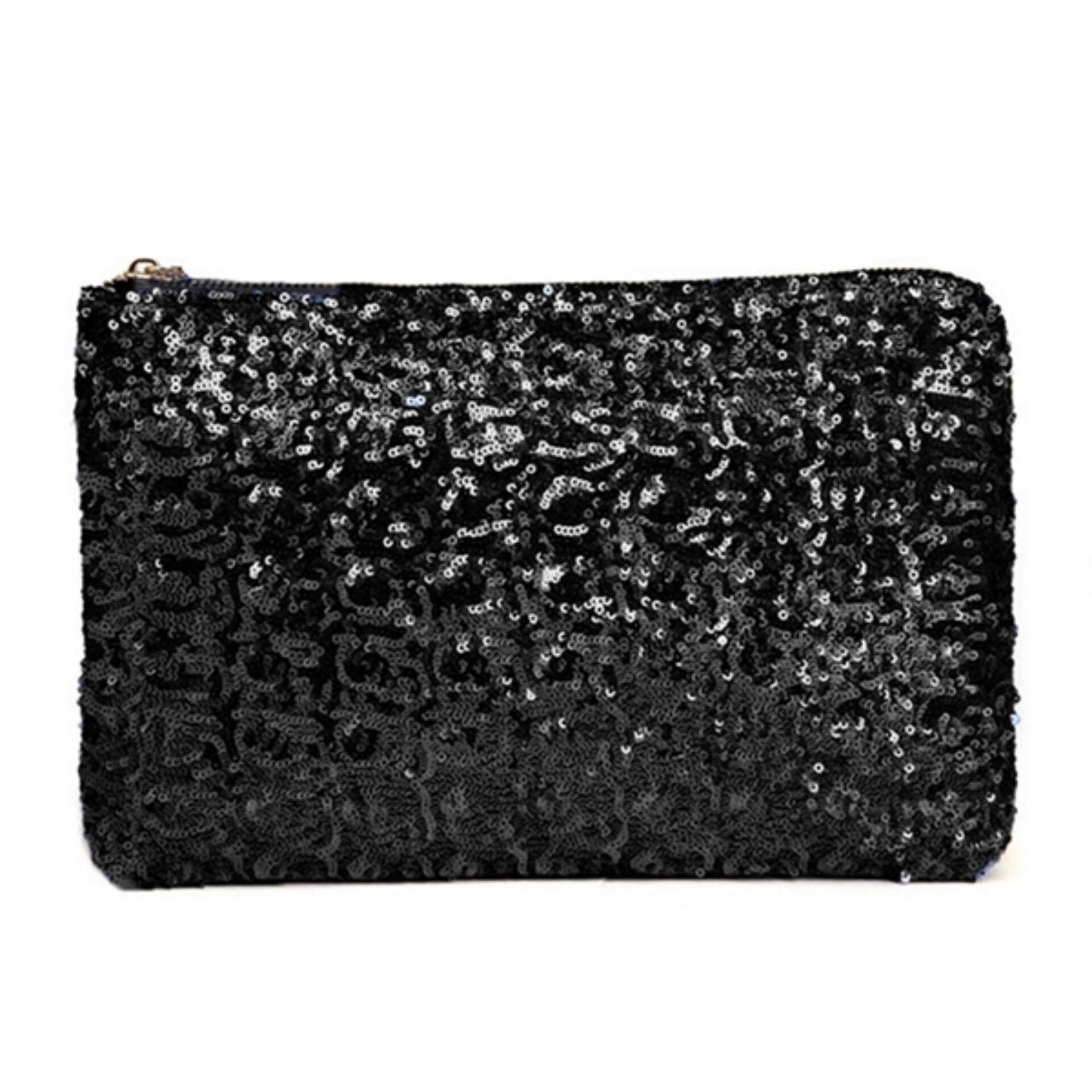 0d421cbab82 TEEMI Sequins Metallic Glitter Clutch Evening Dinner Purse Women HandBag  Dazzling Sparkling Party Bag - Black