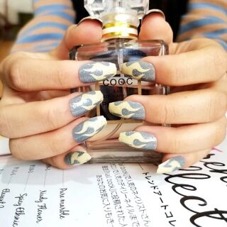 (Với keo thạch) 24 miếng dán hình giọt nước dài đầy đủ đeo móng tay giả ba lê nhọn trong nghệ thuật làm móng màu đặc thumbnail