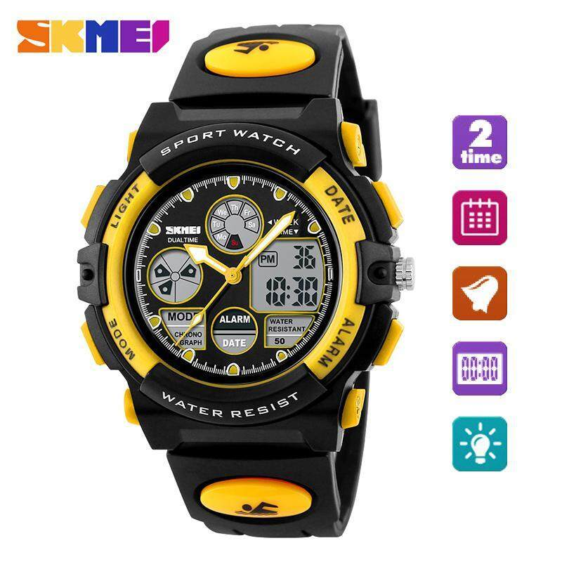 SKMEI Brand Watch For kids 1163 Kids Sports Watches For Boys Waterproof Military Dual Display Wristwatches LED Waterproof Watch Gift For Kids Malaysia