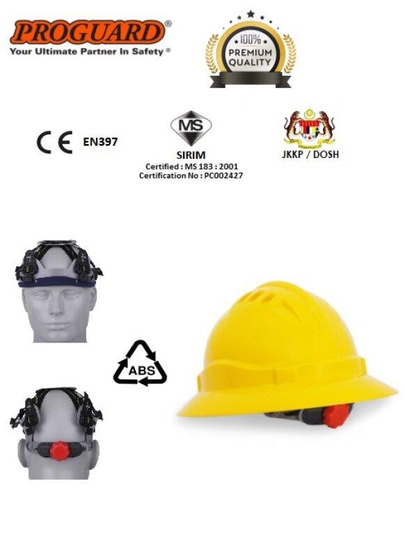 PROGUARD Advanrim Full Brim Safety Helmet / Hard Hat / Head Proetction c/w Swivel Ratchet Webbing Harness & Chin Strap  (SIRIM & DOSH Certified)
