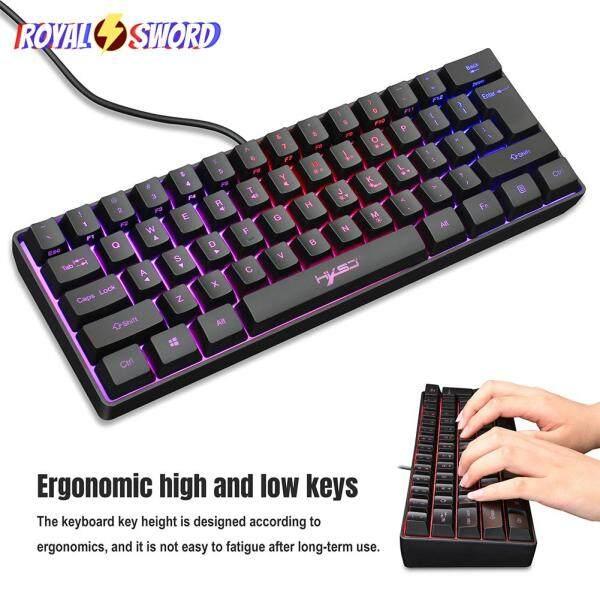 HXSJ V700 61 Keys Multimedia USB RGB Backlight PC Keyboard for Gaming Office 292x102x40mm Singapore