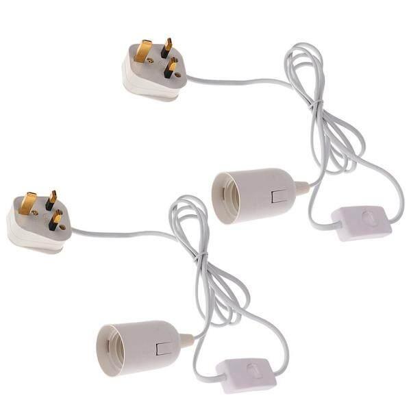 Perfk 2x Edison Screw Plug In Light Kit E27 Inline Switch Lamp Holder Fit Socket