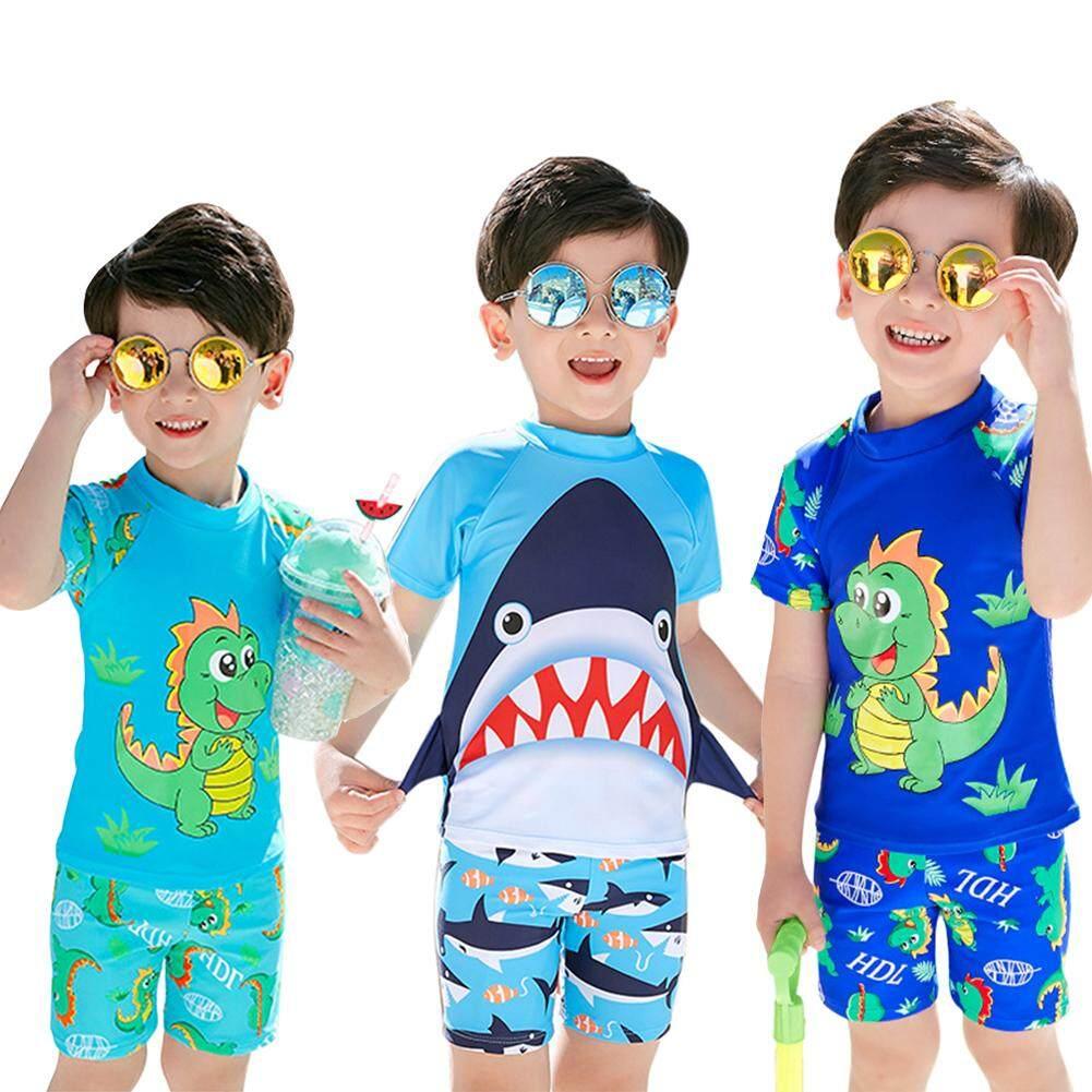 c8d5f50abb 3Pcs/set Kids Baby Boys Split Shark Printing Quick Drying Swimming Suit