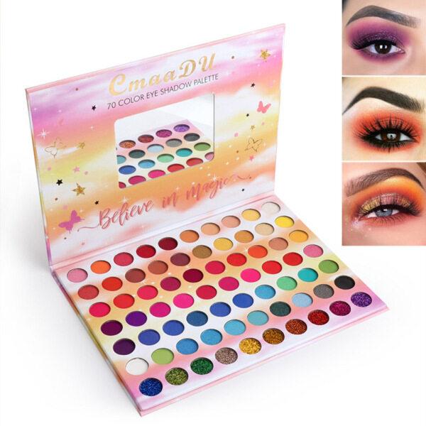 70 Colors Matte Eyeshadow Palette cao sắc tố Matte Shimmer Powder Eye Shadow blendable không thấm nước lâu dài Eyeshadow Pallet nhập khẩu