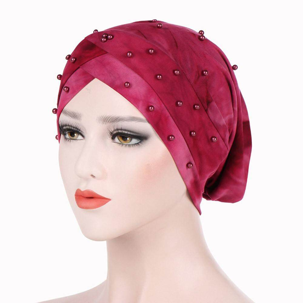 Cocolmax ไทสำหรับผู้หญิง - Dye พิมพ์อินเดียหมวกมุสลิม Ruffle มะเร็ง Chemo ผ้าคลุมผมไหมพรมหมวก By Cocolmax.