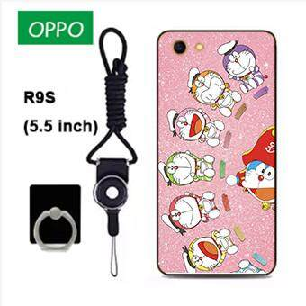Untuk OPPO R9S Case Telepon Lembut Silikon Pelindung Belakang Bergambar Casing Karet dengan Tali & Cincin 3in1 Q4 波妞