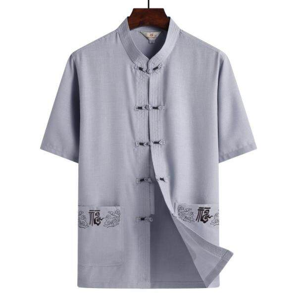 LOLDEAL Áo Vest Đường Phố Ngắn Tay Mùa Hè TRUNG NIÊN Cotton Và Lanh Của Nam, Vải Lanh TRUNG NIÊN Phong Cách Quốc Gia Trung Quốc Cho Nam
