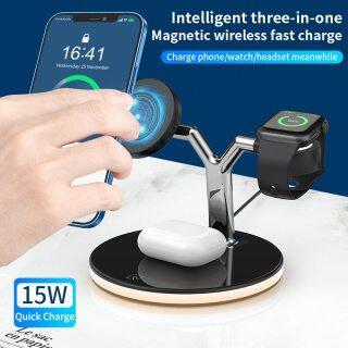 HOCE Bộ Sạc Không Dây Từ Tính 3 Trong 1 Trạm Sạc Nhanh 15W Cho Magsafe iPhone 12 13 Pro Max Bộ Sạc Cho Apple Watch Airpods Pro thumbnail