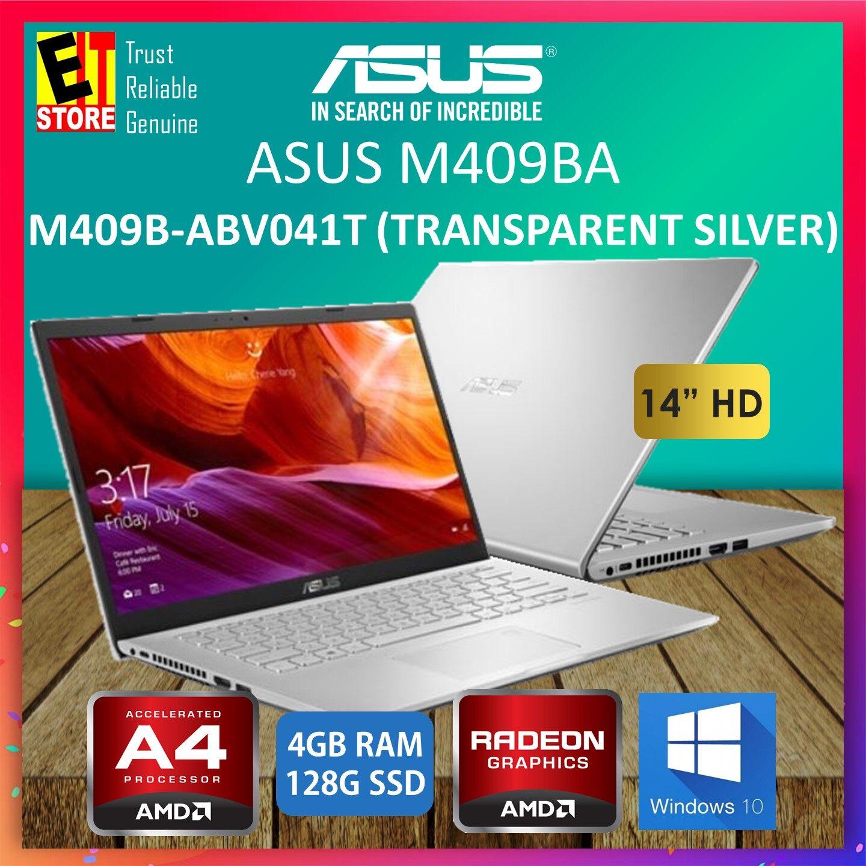 ASUS M409B-ABV041T LAPTOP -SILVER (AMD A4-9125/4GB ONBOARD/128GB SSD/14 HD/RADEON R3/W10/1YR) + BAG Malaysia