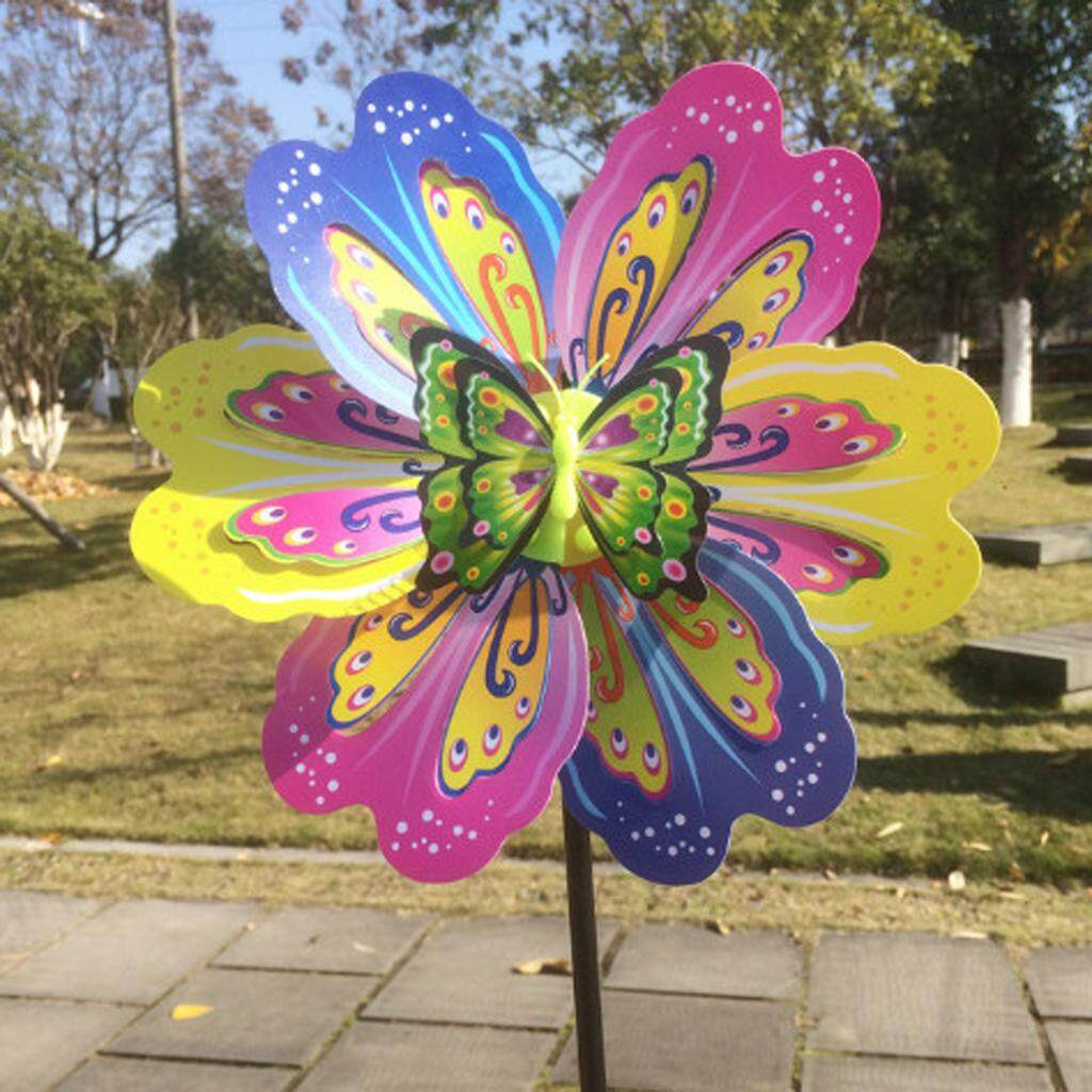 MagiDeal 2x 3D Butterfly Colorful Windmill Wind Whirligig Yard Garden Decor Kids Toy