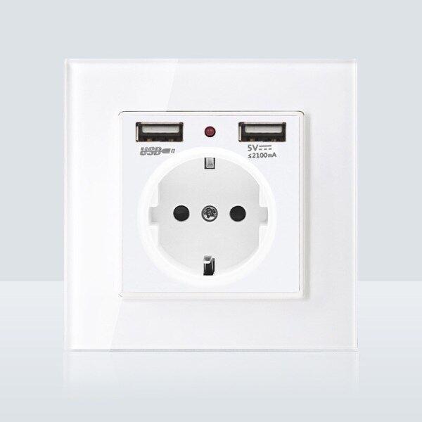 Tường Bảng Điều Chỉnh 2A Kép Cổng USB Tường Charger Adapter Cung Cấp Điện Kính Trắng Sạc Ổ Cắm Tường Adapter EU Cắm Ổ Cắm Ổ Cắm Pow