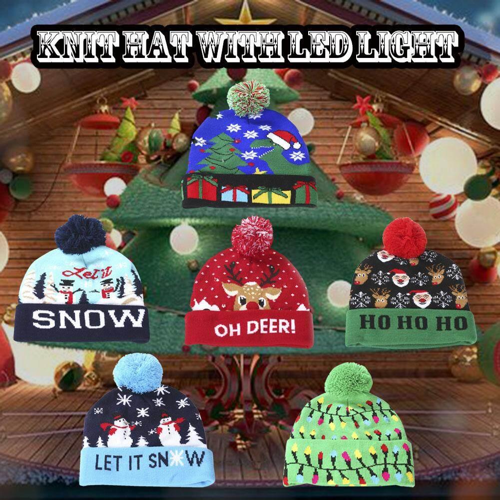 Giá bán Unisex Giáng Sinh Ngoài Trời Thắp Sáng Mũ Đan Mới Lạ Đầy Màu Sắc Sáng Lên Phong Cách Dệt Kim Trang Trí Halloween Mũ LED
