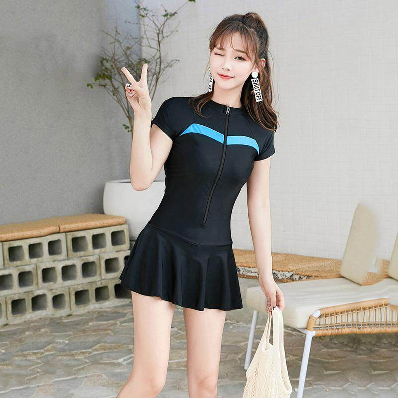 3427ef987f2 M-4XL Short Sleeve Sports Swimsuit Women Zipper One Piece Swimwear Sexy  Skirt Bottom Swim