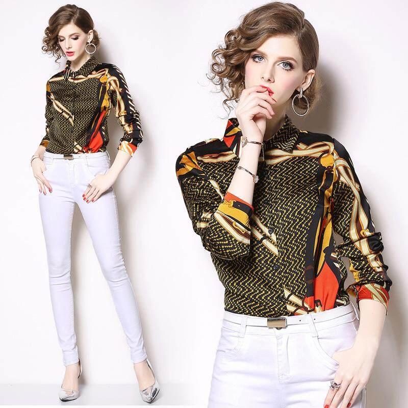 Woman Fashion Positioning Printed Shirt Lapel Long Sleeve Wild Shirt b6abfbf38d0c